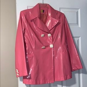 made in france pink faux leather jacket
